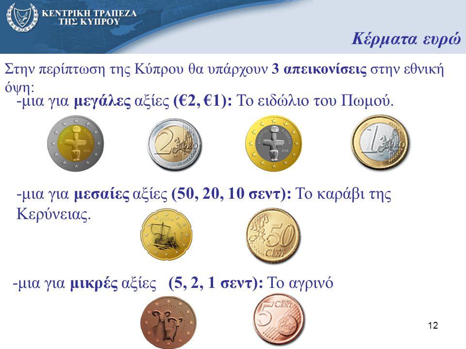 12 Στην περίπτωση της Κύπρου θα υπάρχουν 3 απεικονίσεις στην εθνική όψη: -μια για μικρές αξίες (5, 2, 1 σεντ): Το αγρινό -μια για μεσαίες αξίες (50, 2