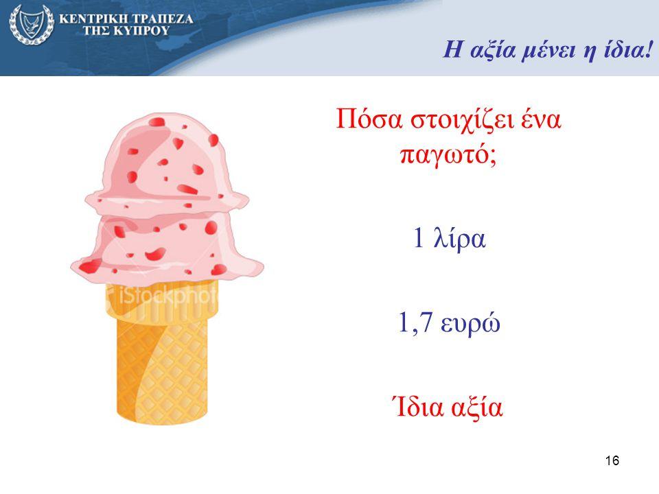 16 Πόσα στοιχίζει ένα παγωτό; 1 λίρα 1,7 ευρώ Ίδια αξία Η αξία μένει η ίδια!