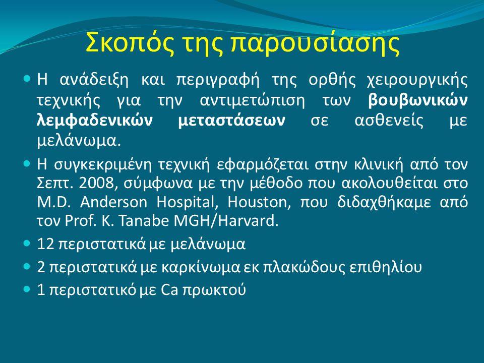 Σκοπός της παρουσίασης  Η ανάδειξη και περιγραφή της ορθής χειρουργικής τεχνικής για την αντιμετώπιση των βουβωνικών λεμφαδενικών μεταστάσεων σε ασθε