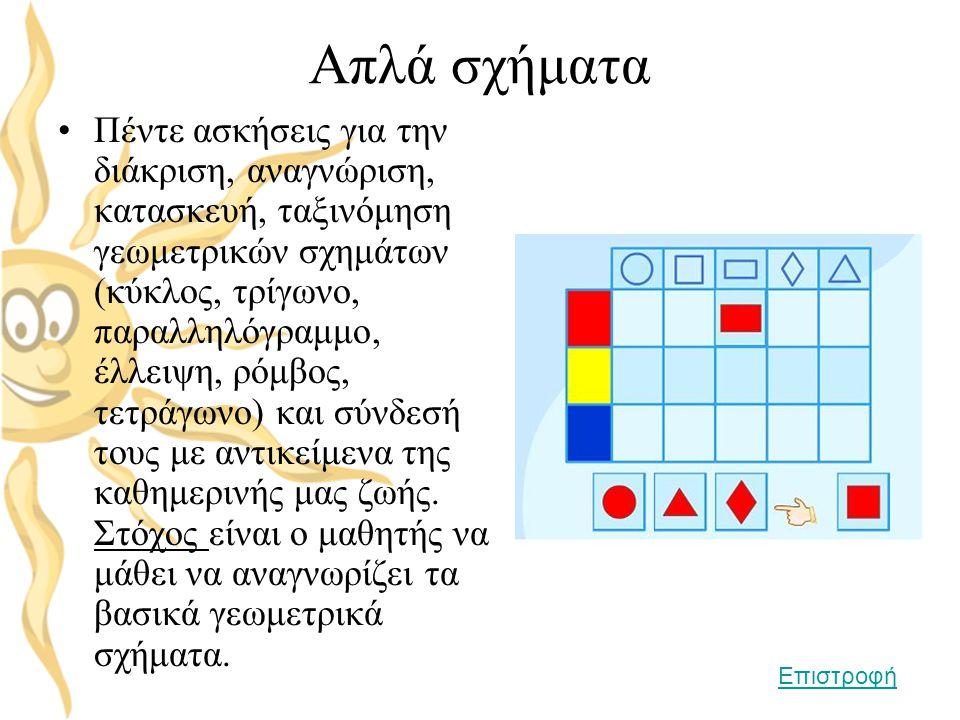 Απλά σχήματα •Πέντε ασκήσεις για την διάκριση, αναγνώριση, κατασκευή, ταξινόμηση γεωμετρικών σχημάτων (κύκλος, τρίγωνο, παραλληλόγραμμο, έλλειψη, ρόμβ