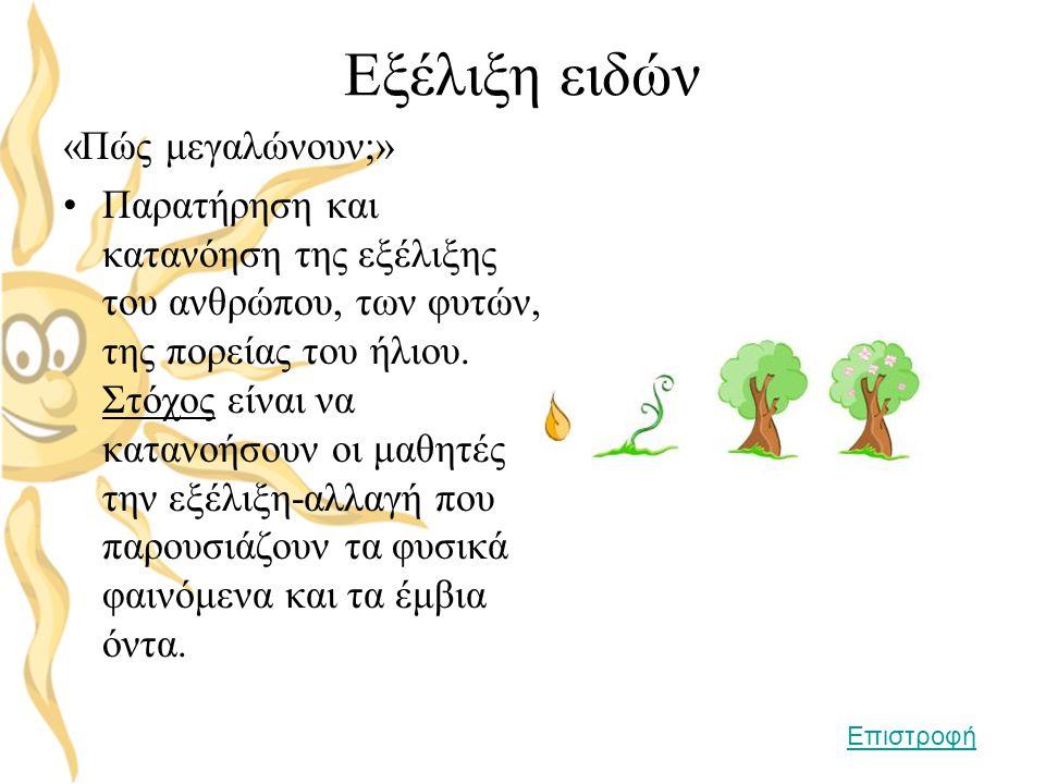 Εξέλιξη ειδών «Πώς μεγαλώνουν;» •Παρατήρηση και κατανόηση της εξέλιξης του ανθρώπου, των φυτών, της πορείας του ήλιου. Στόχος είναι να κατανοήσουν οι