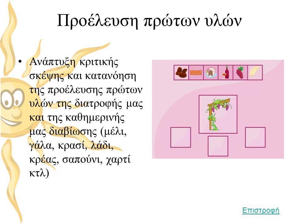Προέλευση πρώτων υλών •Ανάπτυξη κριτικής σκέψης και κατανόηση της προέλευσης πρώτων υλών της διατροφής μας και της καθημερινής μας διαβίωσης (μέλι, γά