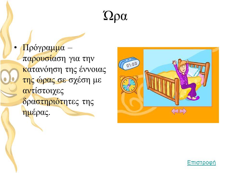 Ώρα •Πρόγραμμα – παρουσίαση για την κατανόηση της έννοιας της ώρας σε σχέση με αντίστοιχες δραστηριότητες της ημέρας. Επιστροφή