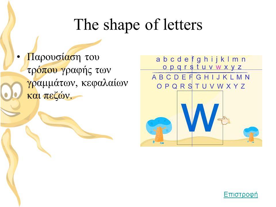The shape of letters •Παρουσίαση του τρόπου γραφής των γραμμάτων, κεφαλαίων και πεζών. Επιστροφή
