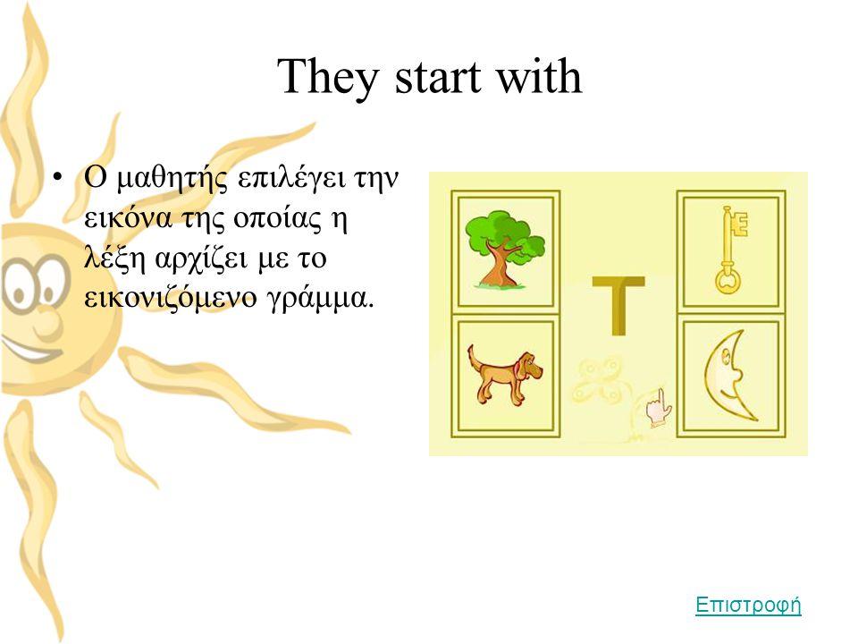They start with •Ο μαθητής επιλέγει την εικόνα της οποίας η λέξη αρχίζει με το εικονιζόμενο γράμμα. Επιστροφή
