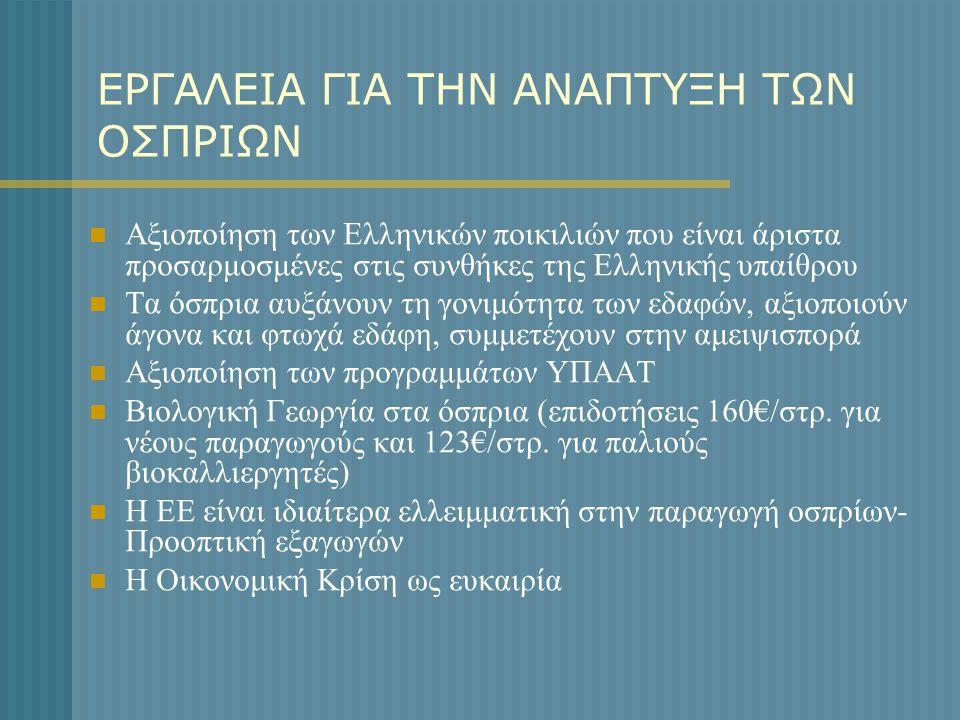 ΕΡΓΑΛΕΙΑ ΓΙΑ ΤΗΝ ΑΝΑΠΤΥΞΗ ΤΩΝ ΟΣΠΡΙΩΝ  Αξιοποίηση των Ελληνικών ποικιλιών που είναι άριστα προσαρμοσμένες στις συνθήκες της Ελληνικής υπαίθρου  Τα ό