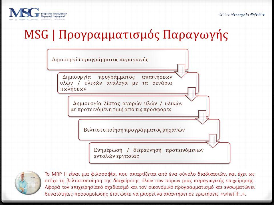 MSG | Προγραμματισμός Παραγωγής Το MRP II είναι μια φιλοσοφία, που απαρτίζεται από ένα σύνολο διαδικασιών, και έχει ως στόχο τη βελτιστοποίηση της δια