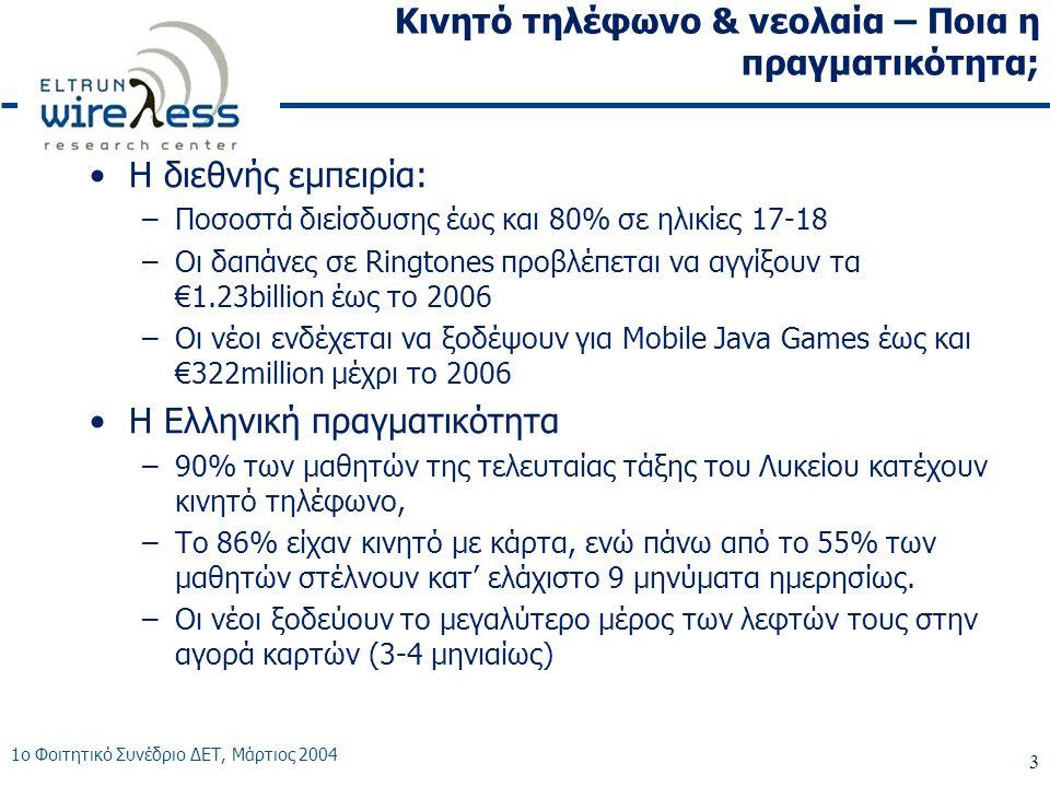 1ο Φοιτητικό Συνέδριο ΔΕΤ, Μάρτιος 2004 3 Κινητό τηλέφωνο & νεολαία – Ποια η πραγματικότητα; •Η διεθνής εμπειρία: –Ποσοστά διείσδυσης έως και 80% σε ηλικίες 17-18 –Οι δαπάνες σε Ringtones προβλέπεται να αγγίξουν τα €1.23billion έως το 2006 –Οι νέοι ενδέχεται να ξοδέψουν για Mobile Java Games έως και €322million μέχρι το 2006 •Η Ελληνική πραγματικότητα –90% των μαθητών της τελευταίας τάξης του Λυκείου κατέχουν κινητό τηλέφωνο, –Το 86% είχαν κινητό με κάρτα, ενώ πάνω από το 55% των μαθητών στέλνουν κατ' ελάχιστο 9 μηνύματα ημερησίως.