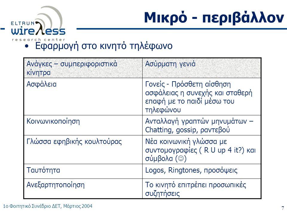 1ο Φοιτητικό Συνέδριο ΔΕΤ, Μάρτιος 2004 7 Μικρό - περιβάλλον •Εφαρμογή στο κινητό τηλέφωνο Ανάγκες – συμπεριφοριστικά κίνητρα Ασύρματη γενιά ΑσφάλειαΓονείς - Πρόσθετη αίσθηση ασφάλειας η συνεχής και σταθερή επαφή με το παιδί μέσω του τηλεφώνου ΚοινωνικοποίησηΑνταλλαγή γραπτών μηνυμάτων – Chatting, gossip, ραντεβού Γλώσσα εφηβικής κουλτούραςΝέα κοινωνική γλώσσα με συντομογραφίες ( R U up 4 it?) και σύμβολα (  ) ΤαυτότηταLogos, Ringtones, προσόψεις ΑνεξαρτητοποίησηΤο κινητό επιτρέπει προσωπικές συζητήσεις