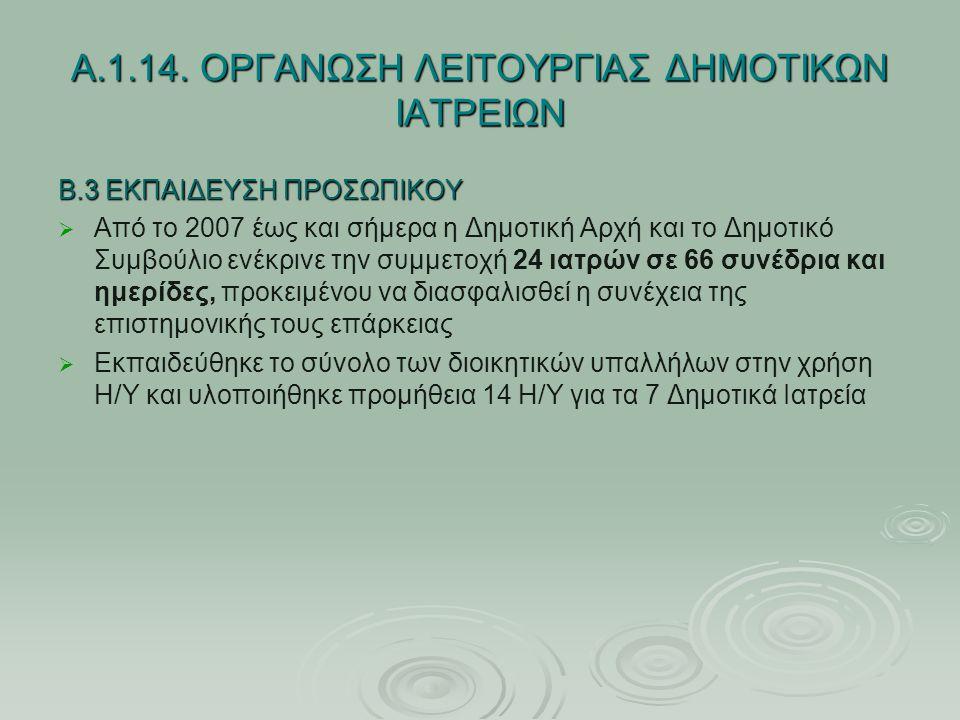 Α.1.14. ΟΡΓΑΝΩΣΗ ΛΕΙΤΟΥΡΓΙΑΣ ΔΗΜΟΤΙΚΩΝ ΙΑΤΡΕΙΩΝ Β.3 ΕΚΠΑΙΔΕΥΣΗ ΠΡΟΣΩΠΙΚΟΥ   Από το 2007 έως και σήμερα η Δημοτική Αρχή και το Δημοτικό Συμβούλιο ενέ