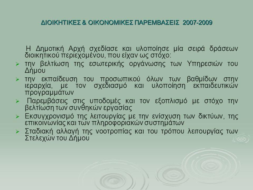 ΔΙΟΙΚΗΤΙΚΕΣ & ΟΙΚΟΝΟΜΙΚΕΣ ΠΑΡΕΜΒΑΣΕΙΣ 2007-2009 Η Δημοτική Αρχή σχεδίασε και υλοποίησε μία σειρά δράσεων διοικητικού περιεχομένου, που είχαν ως στόχο: