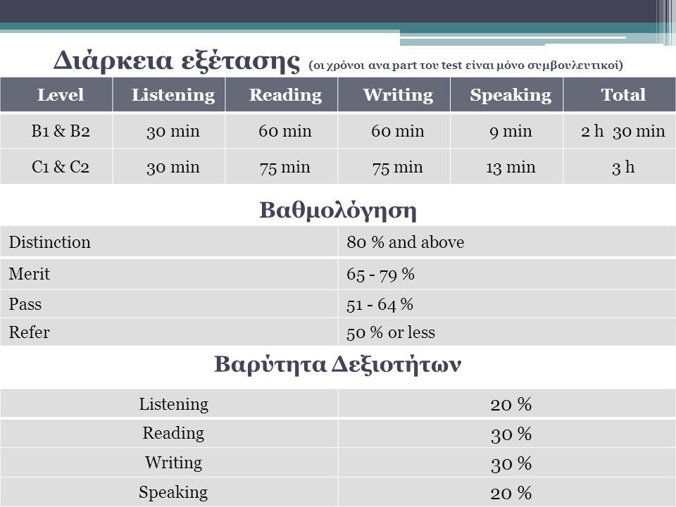 Διάρκεια εξέτασης (οι χρόνοι ανα part του test είναι μόνο συμβουλευτικοί) LevelListeningReadingWritingSpeakingTotal B1 & B230 min60 min 9 min2 h 30 min C1 & C230 min75 min 13 min3 h Βαθμολόγηση Βαρύτητα Δεξιοτήτων Listening 20 % Reading 30 % Writing 30 % Speaking 20 % Distinction80 % and above Merit65 - 79 % Pass51 - 64 % Refer50 % or less