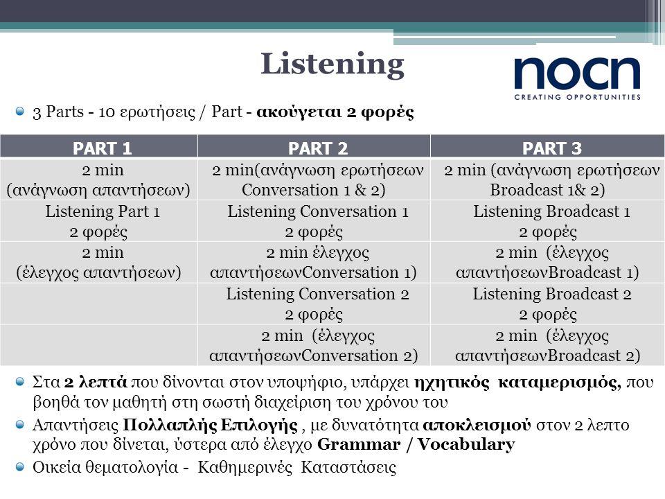Listening 3 Parts - 10 ερωτήσεις / Part - ακούγεται 2 φορές Στα 2 λεπτά που δίνονται στον υποψήφιο, υπάρχει ηχητικός καταμερισμός, που βοηθά τον μαθητή στη σωστή διαχείριση του χρόνου του Απαντήσεις Πολλαπλής Επιλογής, με δυνατότητα αποκλεισμού στον 2 λεπτο χρόνο που δίνεται, ύστερα από έλεγχο Grammar / Vocabulary Οικεία θεματολογία - Καθημερινές Καταστάσεις PART 1PART 2PART 3 2 min (ανάγνωση απαντήσεων) 2 min(ανάγνωση ερωτήσεων Conversation 1 & 2) 2 min (ανάγνωση ερωτήσεων Broadcast 1& 2) Listening Part 1 2 φορές Listening Conversation 1 2 φορές Listening Broadcast 1 2 φορές 2 min (έλεγχος απαντήσεων) 2 min έλεγχος απαντήσεωνConversation 1) 2 min (έλεγχος απαντήσεωνBroadcast 1) Listening Conversation 2 2 φορές Listening Broadcast 2 2 φορές 2 min (έλεγχος απαντήσεωνConversation 2) 2 min (έλεγχος απαντήσεωνBroadcast 2)