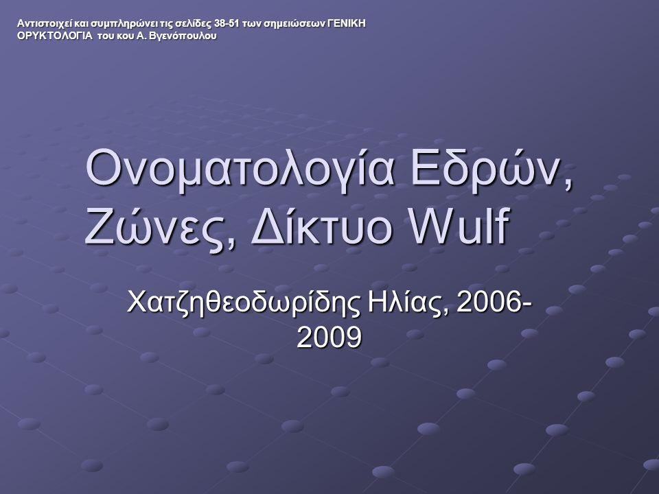 Ονοματολογία Εδρών, Ζώνες, Δίκτυο Wulf Χατζηθεοδωρίδης Ηλίας, 2006- 2009 Αντιστοιχεί και συμπληρώνει τις σελίδες 38-51 των σημειώσεων ΓΕΝΙΚΗ ΟΡΥΚΤΟΛΟΓ
