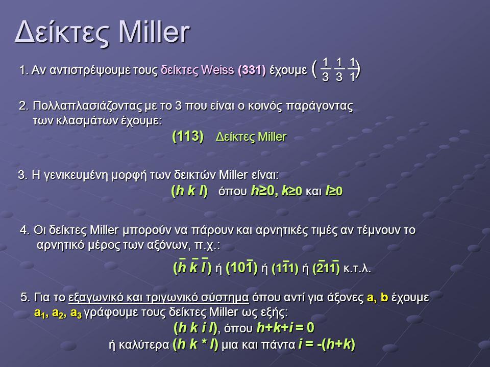 Δείκτες Miller 1. Αν αντιστρέψουμε τους δείκτες Weiss (331) έχουμε ( ) 2. Πολλαπλασιάζοντας με το 3 που είναι ο κοινός παράγοντας των κλασμάτων έχουμε