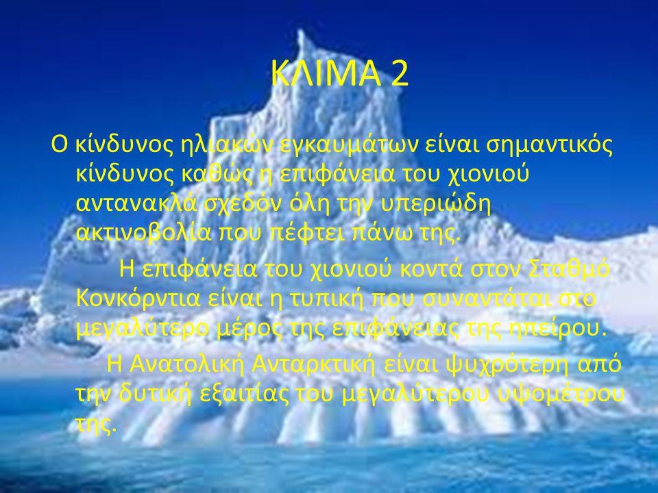 ΚΛΙΜΑ 2 Ο κίνδυνος ηλιακών εγκαυμάτων είναι σημαντικός κίνδυνος καθώς η επιφάνεια του χιονιού αντανακλά σχεδόν όλη την υπεριώδη ακτινοβολία που πέφτει