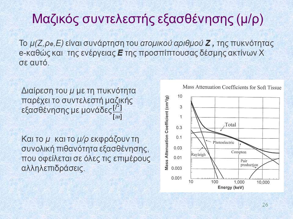 Μαζικός συντελεστής εξασθένησης (μ/ρ) Το μ(Ζ,ρ e,Ε) είναι συνάρτηση του ατομικού αριθμού Ζ, της πυκνότητας e-καθώς και της ενέργειας Ε της προσπίπτουσ