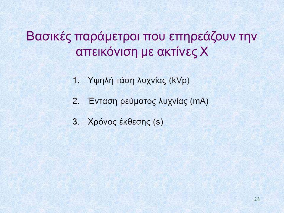 1.Υψηλή τάση λυχνίας (kVp) 2.Ένταση ρεύματος λυχνίας (mA) 3.Χρόνος έκθεσης (s) Βασικές παράμετροι που επηρεάζουν την απεικόνιση με ακτίνες X 28