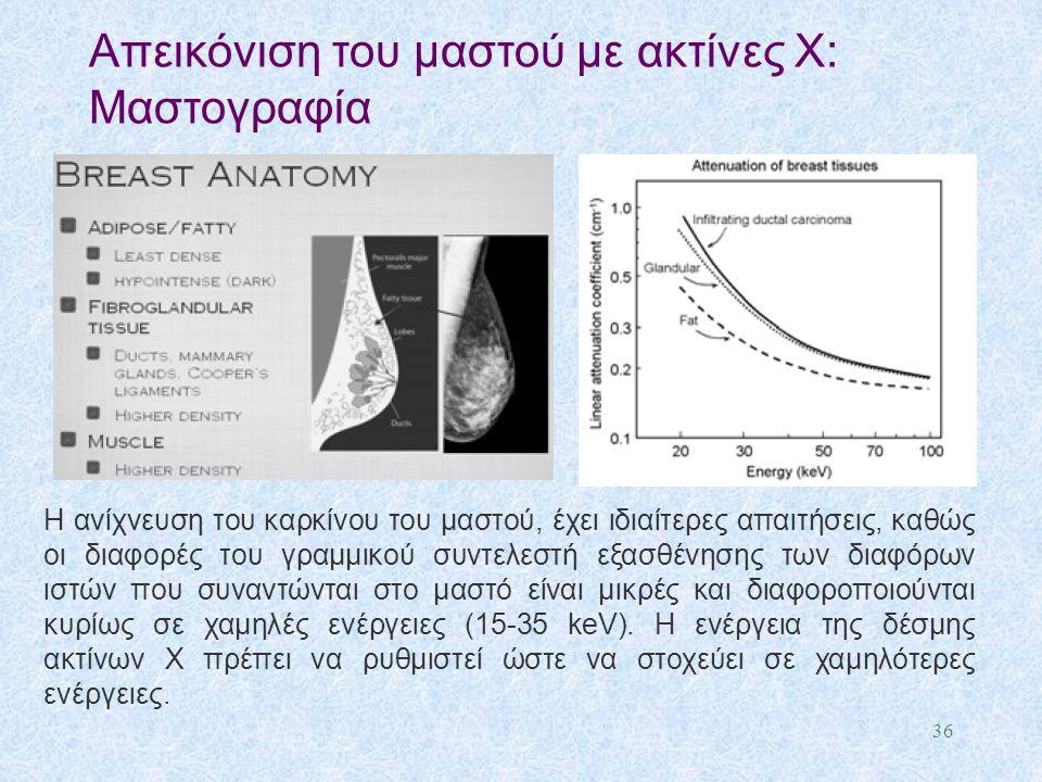 Απεικόνιση του μαστού με ακτίνες X: Μαστογραφία 36 Η ανίχνευση του καρκίνου του μαστού, έχει ιδιαίτερες απαιτήσεις, καθώς οι διαφορές του γραμμικού συ