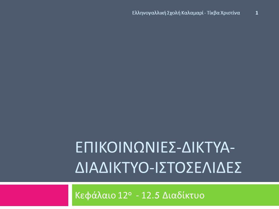 ΕΠΙΚΟΙΝΩΝΙΕΣ - ΔΙΚΤΥΑ - ΔΙΑΔΙΚΤΥΟ - ΙΣΤΟΣΕΛΙΔΕΣ Κεφάλαιο 12 ο - 12.5 Διαδίκτυο Ελληνογαλλική Σχολή Καλαμαρί - Τίκβα Χριστίνα 1