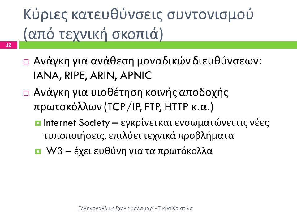 Κύριες κατευθύνσεις συντονισμού ( από τεχνική σκοπιά ) Ελληνογαλλική Σχολή Καλαμαρί - Τίκβα Χριστίνα 12  Ανάγκη για ανάθεση μοναδικών διευθύνσεων : IANA, RIPE, ARIN, APNIC  Ανάγκη για υιοθέτηση κοινής αποδοχής πρωτοκόλλων (TCP/IP, FTP, HTTP κ.