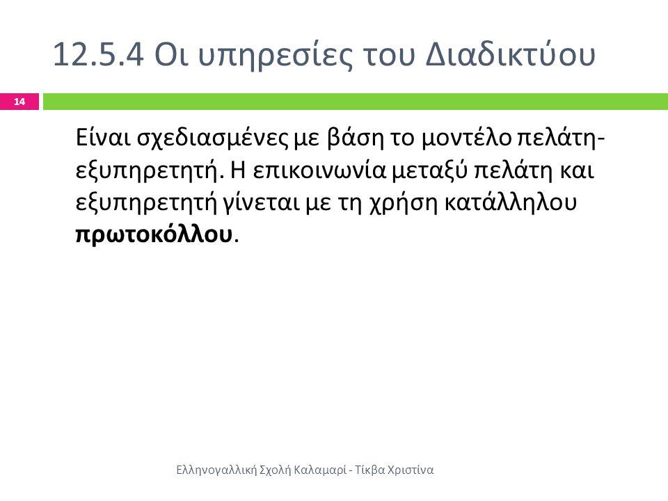12.5.4 Οι υπηρεσίες του Διαδικτύου Ελληνογαλλική Σχολή Καλαμαρί - Τίκβα Χριστίνα 14 Είναι σχεδιασμένες με βάση το μοντέλο πελάτη - εξυπηρετητή.