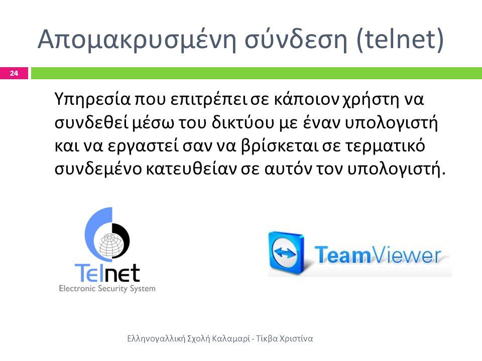 Απομακρυσμένη σύνδεση (telnet) Ελληνογαλλική Σχολή Καλαμαρί - Τίκβα Χριστίνα 24 Υπηρεσία που επιτρέπει σε κάποιον χρήστη να συνδεθεί μέσω του δικτύου με έναν υπολογιστή και να εργαστεί σαν να βρίσκεται σε τερματικό συνδεμένο κατευθείαν σε αυτόν τον υπολογιστή.