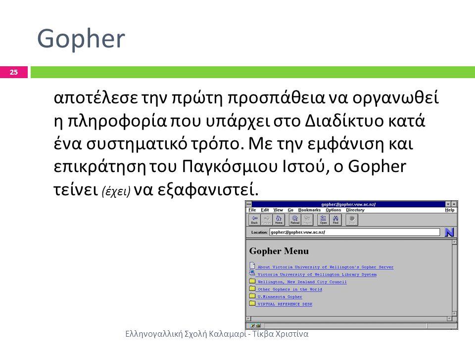 Gopher Ελληνογαλλική Σχολή Καλαμαρί - Τίκβα Χριστίνα 25 αποτέλεσε την πρώτη προσπάθεια να οργανωθεί η πληροφορία που υπάρχει στο Διαδίκτυο κατά ένα συστηματικό τρόπο.