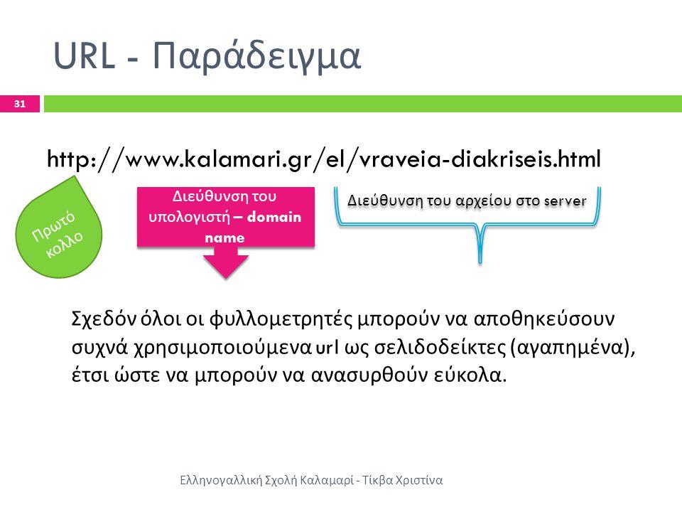 URL - Παράδειγμα Ελληνογαλλική Σχολή Καλαμαρί - Τίκβα Χριστίνα 31 http://www.kalamari.gr/el/vraveia-diakriseis.html Σχεδόν όλοι οι φυλλομετρητές μπορούν να αποθηκεύσουν συχνά χρησιμοποιούμενα url ως σελιδοδείκτες ( αγαπημένα ), έτσι ώστε να μπορούν να ανασυρθούν εύκολα.