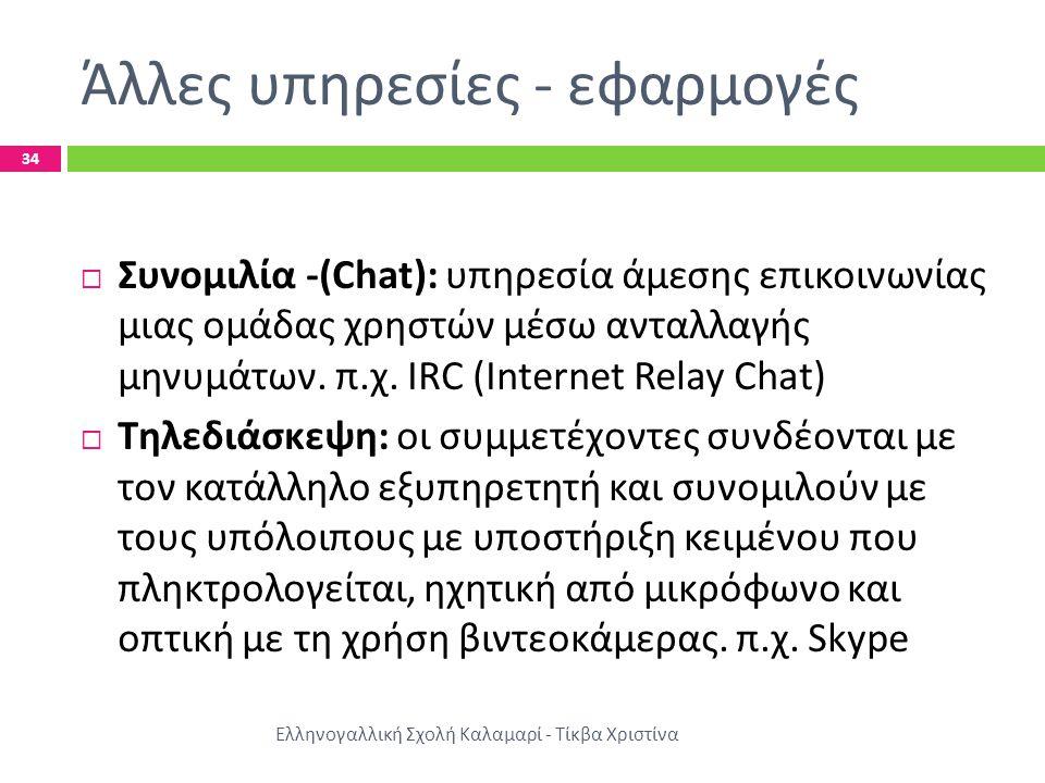 Άλλες υπηρεσίες - εφαρμογές Ελληνογαλλική Σχολή Καλαμαρί - Τίκβα Χριστίνα 34  Συνομιλία -(Chat): υπηρεσία άμεσης επικοινωνίας μιας ομάδας χρηστών μέσω ανταλλαγής μηνυμάτων.