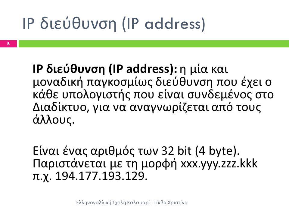 IP διεύθυνση (IP address) Ελληνογαλλική Σχολή Καλαμαρί - Τίκβα Χριστίνα 5 IP διεύθυνση (IP address): η μία και μοναδική παγκοσμίως διεύθυνση που έχει ο κάθε υπολογιστής που είναι συνδεμένος στο Διαδίκτυο, για να αναγνωρίζεται από τους άλλους.