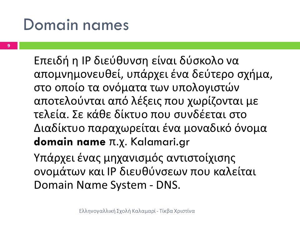 Domain names Ελληνογαλλική Σχολή Καλαμαρί - Τίκβα Χριστίνα 9 Επειδή η IP διεύθυνση είναι δύσκολο να απομνημονευθεί, υπάρχει ένα δεύτερο σχήμα, στο οποίο τα ονόματα των υπολογιστών αποτελούνται από λέξεις που χωρίζονται με τελεία.