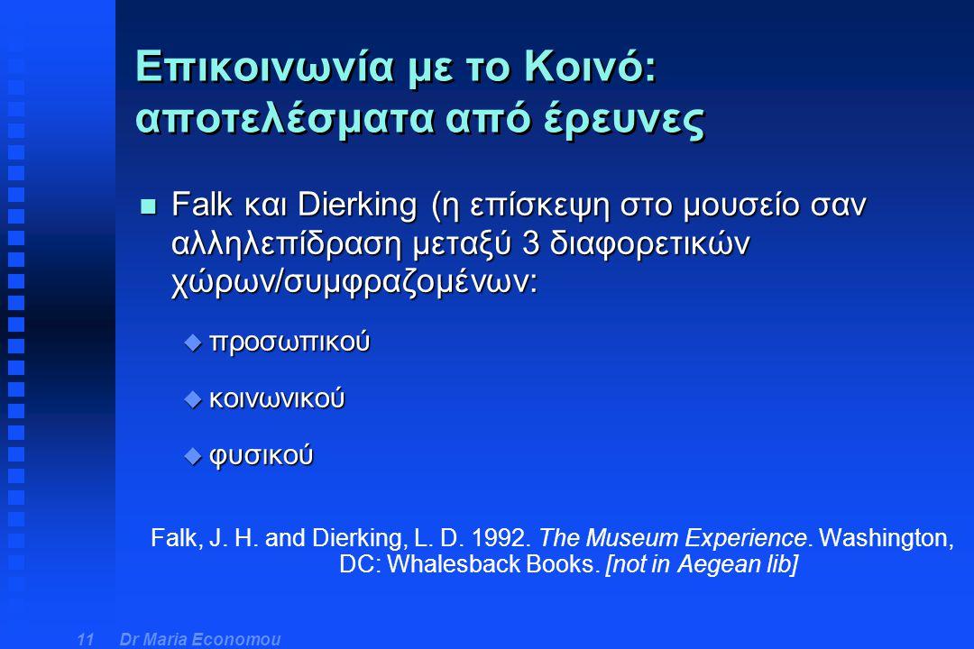 Dr Maria Economou 11 n Falk και Dierking (η επίσκεψη στο μουσείο σαν αλληλεπίδραση μεταξύ 3 διαφορετικών χώρων/συμφραζομένων: u προσωπικού u κοινωνικο