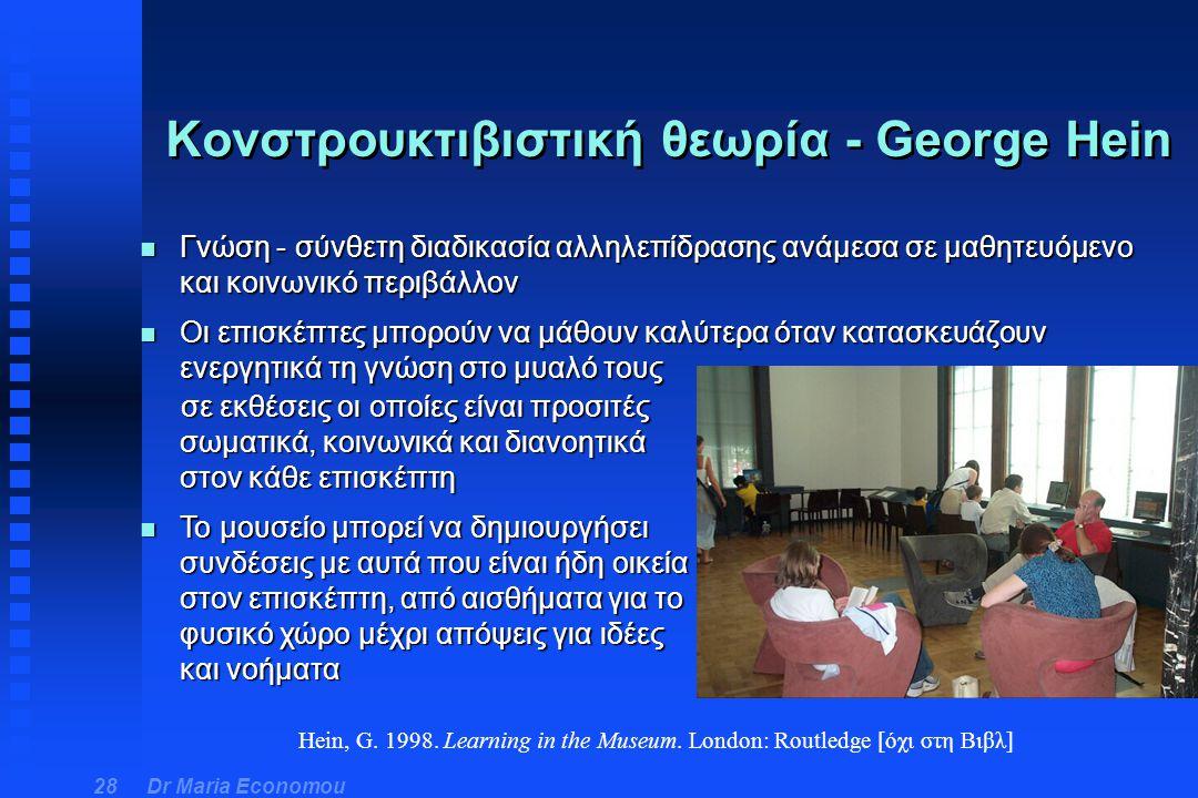 Dr Maria Economou 28 Κονστρουκτιβιστική θεωρία - George Hein n Γνώση - σύνθετη διαδικασία αλληλεπίδρασης ανάμεσα σε μαθητευόμενο και κοινωνικό περιβάλ