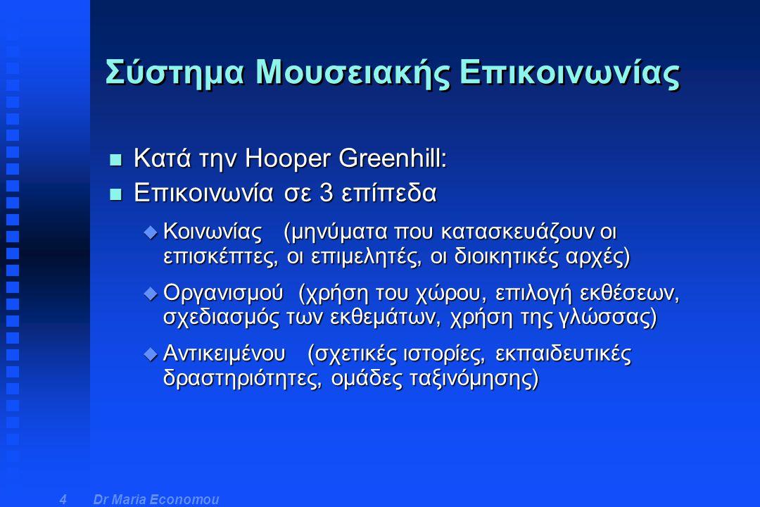 Dr Maria Economou 4 n Κατά την Hooper Greenhill: n Επικοινωνία σε 3 επίπεδα u Κοινωνίας (μηνύματα που κατασκευάζουν οι επισκέπτες, οι επιμελητές, οι δ