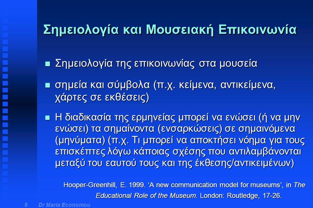 Dr Maria Economou 29 Κονστρουκτιβιστική θεωρία - George Hein (2) n Εφαρμογή της από τα μουσεία: u Προσανατολισμός, ήρεμη και αποτελεσματική υποδοχή στην αρχή της επίσκεψης u Εκτός από σύνδεση με ό,τι είναι οικείο, παράλληλα καινούριες διανοητικές προκλήσεις για μάθηση και εμπλοκή με το άγνωστο u Η ισορροπία μεταξύ των δύο δεν είναι εύκολη και συχνά πρέπει να δοκιμαστεί με διαφορετικούς τρόπους στην πράξη Hein, G.