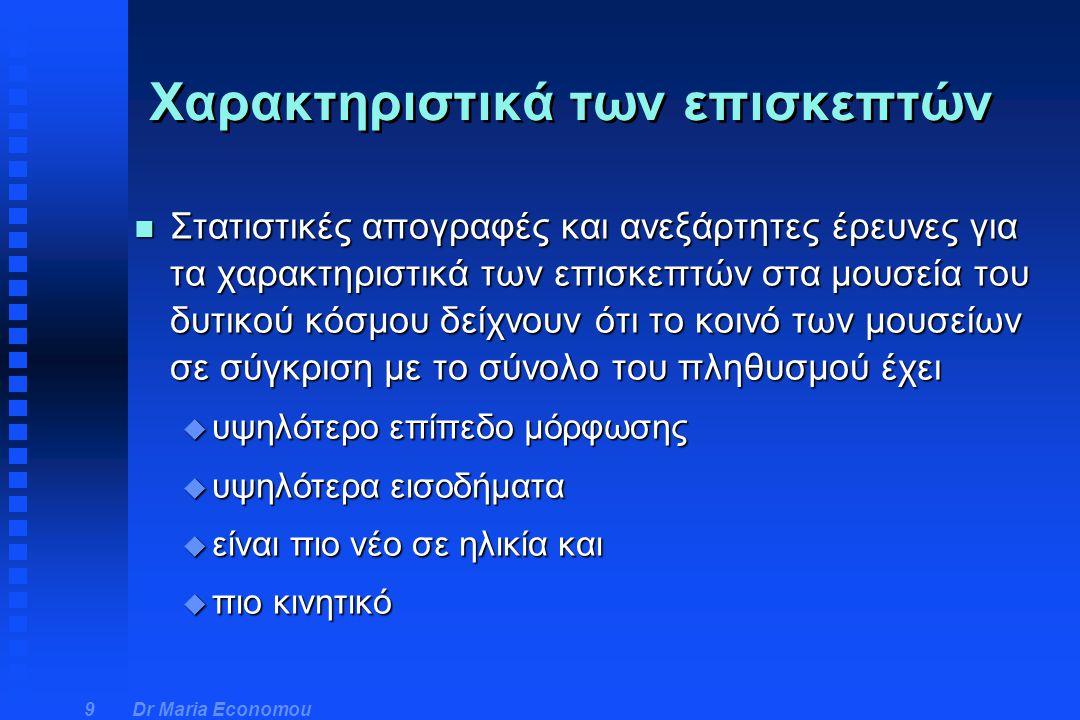 Dr Maria Economou 20 n Χαρακτηριστικά επισκεπτών μουσείων: u ηλικιακή ομάδα μεταξύ 35-59 u ιδιοκτήτες του σπιτιού τους u κάτοχοι αυτοκινήτου u φοιτητές ή εργαζόμενοι u απόφοιτοι ιδιωτικού σχολείου u παραμονή στην εκπαίδευση και μετά το κατώτατο υποχρεωτικό όριο n Μη επισκέπτες: u πάνω από 60 u ένοικοι σε εργατικές κατοικίες u όχι αυτοκίνητο u συνταξιούχοι, άνεργοι ή σε μερική απασχόληση u όχι ιδιωτικό σχολείο u εγκατάλειψη της εκπαίδευση στην κατώτατη ηλικία Πορίσματα έρευνας - Nick Merriman
