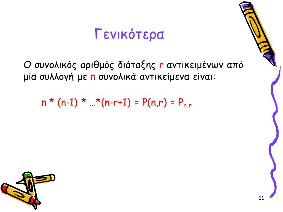 11 Ο συνολικός αριθμός διάταξης r αντικειμένων από μία συλλογή με n συνολικά αντικείμενα είναι: n * (n-1) * …*(n-r+1) = P(n,r) = P n,r Γενικότερα