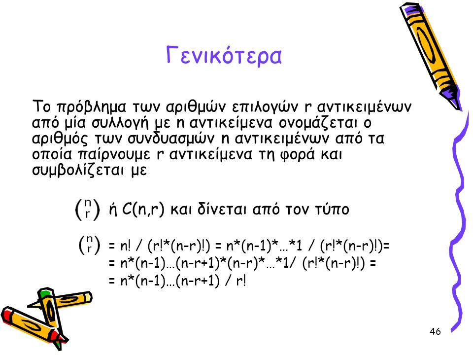 46 Το πρόβλημα των αριθμών επιλογών r αντικειμένων από μία συλλογή με n αντικείμενα ονομάζεται ο αριθμός των συνδυασμών n αντικειμένων από τα οποία πα