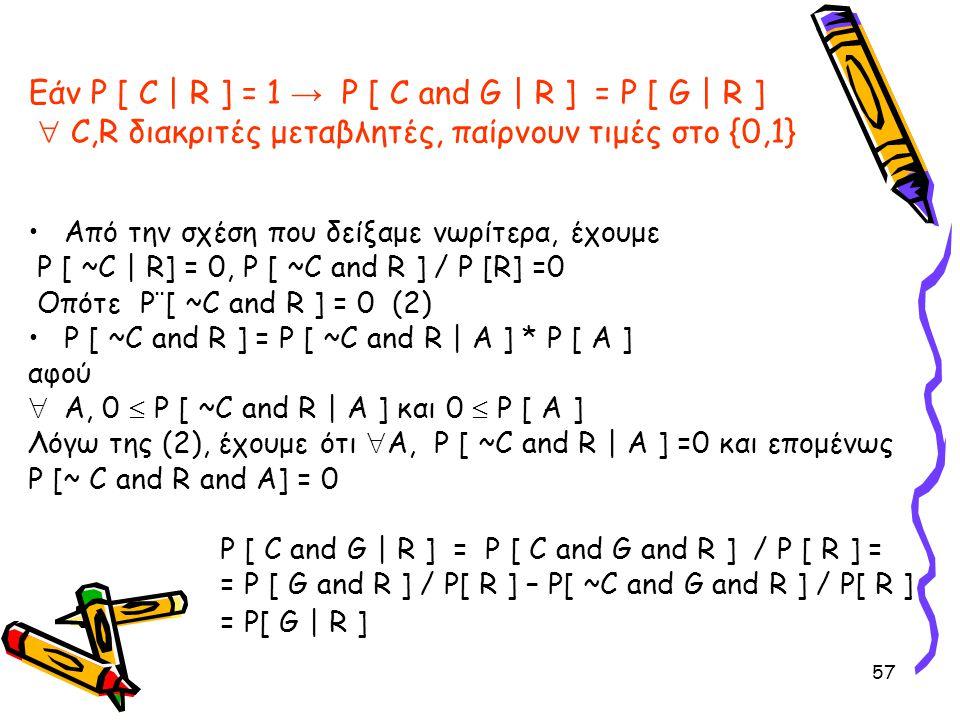 57 Εάν P [ C | R ] = 1 → P [ C and G | R ] = P [ G | R ]  C,R διακριτές μεταβλητές, παίρνουν τιμές στο {0,1} •Από την σχέση που δείξαμε νωρίτερα, έχο