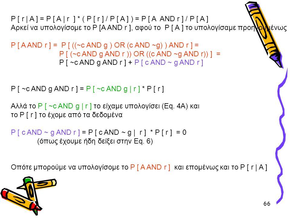 66 P [ r | A ] = P [ Α | r ] * ( P [ r ] / P [ A ] ) = P [ A AND r ] / P [ A ] Αρκεί να υπολογίσομε το P [A AND r ], αφού το P [ A ] το υπολογίσαμε πρ