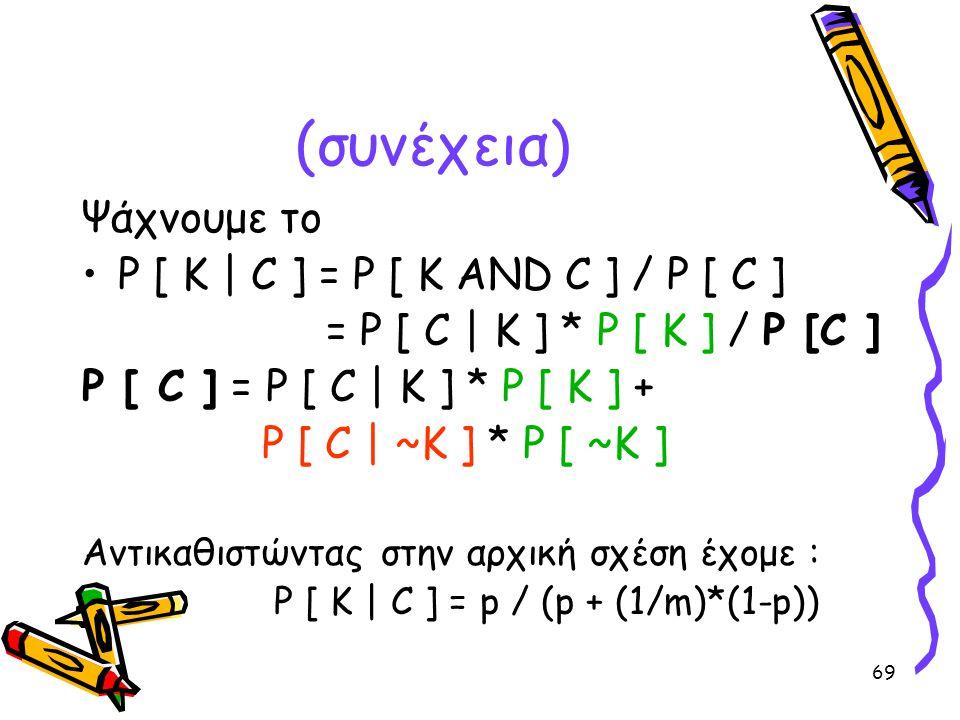 69 (συνέχεια) Ψάχνουμε το •P [ K | C ] = P [ K AND C ] / P [ C ] = P [ C | K ] * P [ K ] / P [C ] P [ C ] = P [ C | K ] * P [ K ] + P [ C | ~K ] * P [