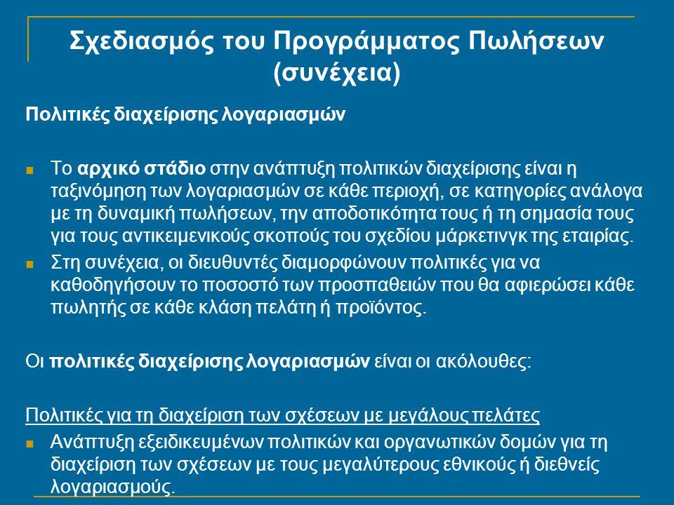 Σχεδιασμός του Προγράμματος Πωλήσεων (συνέχεια) Πολιτικές διαχείρισης λογαριασμών  Το αρχικό στάδιο στην ανάπτυξη πολιτικών διαχείρισης είναι η ταξιν