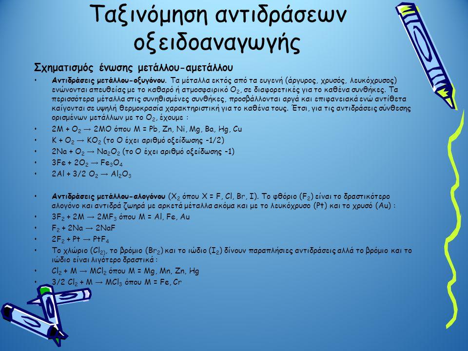 Ταξινόμηση αντιδράσεων οξειδοαναγωγής Σχηματισμός ένωσης μετάλλου-αμετάλλου •Αντιδράσεις μετάλλου-οξυγόνου. Τα μέταλλα εκτός από τα ευγενή (άργυρος, χ