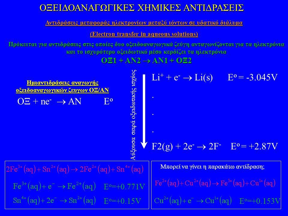 ΟΞΕΙΔΟΑΝΑΓΩΓΙΚΕΣ ΧΗΜΙΚΕΣ ΑΝΤΙΔΡΑΣΕΙΣ Αντιδράσεις μεταφοράς ηλεκτρονίων μεταξύ ιόντων σε υδατικό διάλυμα (Electron transfer in aqueous solutions) ΟΞ + ne -  ANE o Li + + e -  Li(s) E o = -3.045V.