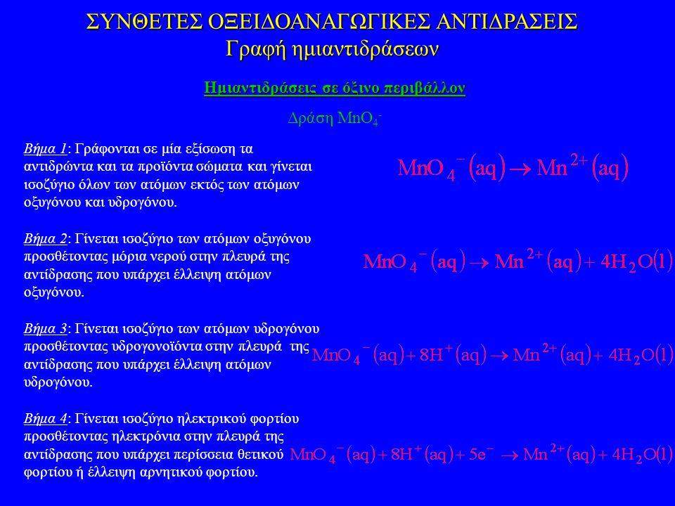 ΣΥΝΘΕΤΕΣ ΟΞΕΙΔΟΑΝΑΓΩΓΙΚΕΣ ΑΝΤΙΔΡΑΣΕΙΣ Γραφή ημιαντιδράσεων Ημιαντιδράσεις σε όξινο περιβάλλον Δράση MnO 4 - Βήμα 1: Γράφονται σε μία εξίσωση τα αντιδρώντα και τα προϊόντα σώματα και γίνεται ισοζύγιο όλων των ατόμων εκτός των ατόμων οξυγόνου και υδρογόνου.