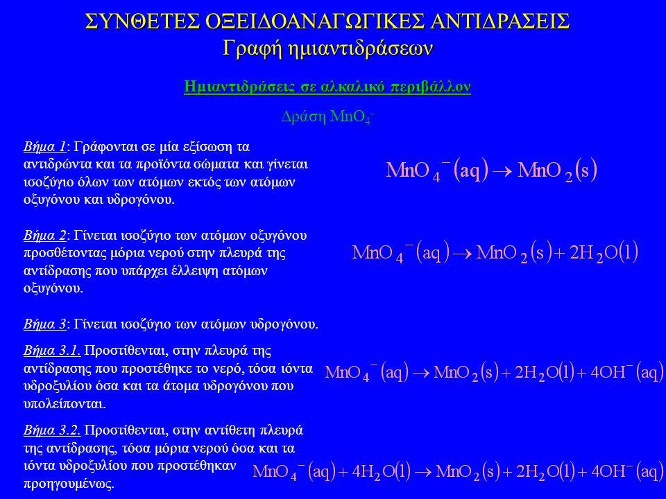 Βήμα 1: Γράφονται σε μία εξίσωση τα αντιδρώντα και τα προϊόντα σώματα και γίνεται ισοζύγιο όλων των ατόμων εκτός των ατόμων οξυγόνου και υδρογόνου. Βή
