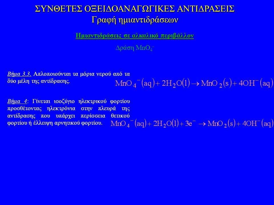 ΣΥΝΘΕΤΕΣ ΟΞΕΙΔΟΑΝΑΓΩΓΙΚΕΣ ΑΝΤΙΔΡΑΣΕΙΣ Γραφή ημιαντιδράσεων Ημιαντιδράσεις σε αλκαλικό περιβάλλον Δράση MnO 4 - Βήμα 3.3. Απλοποιούνται τα μόρια νερού