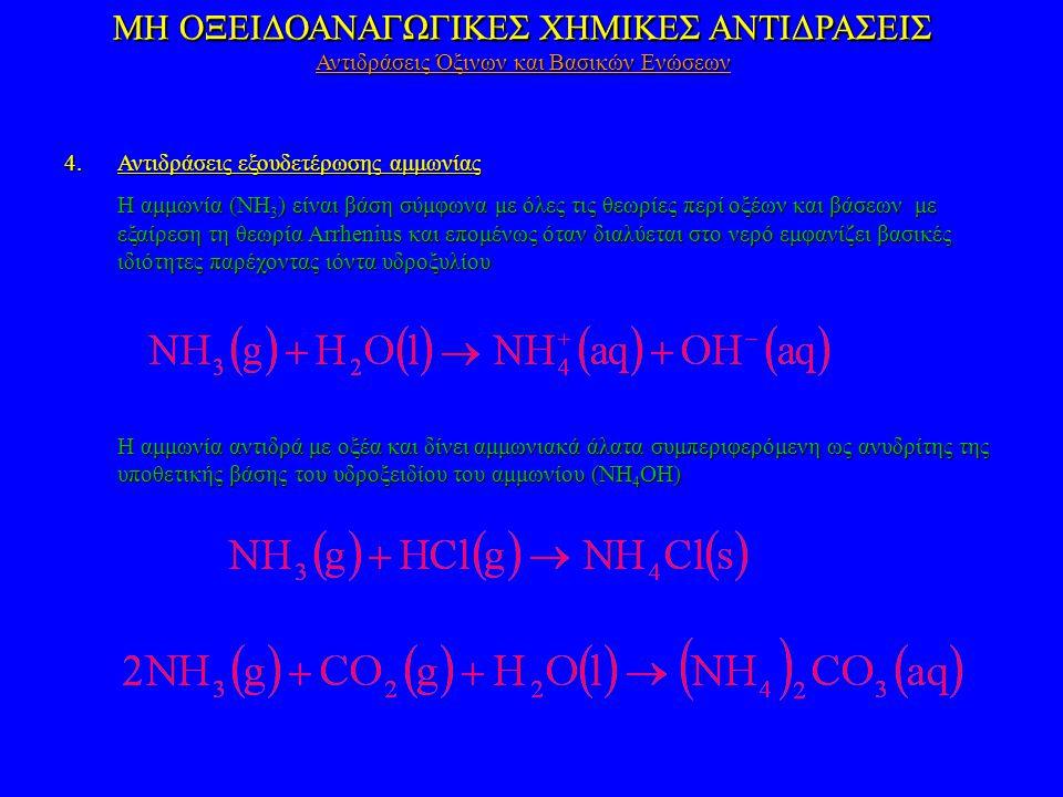 ΜΗ ΟΞΕΙΔΟΑΝΑΓΩΓΙΚΕΣ ΧΗΜΙΚΕΣ ΑΝΤΙΔΡΑΣΕΙΣ 4.Αντιδράσεις εξουδετέρωσης αμμωνίας Η αμμωνία (NH 3 ) είναι βάση σύμφωνα με όλες τις θεωρίες περί οξέων και βάσεων με εξαίρεση τη θεωρία Arrhenius και επομένως όταν διαλύεται στο νερό εμφανίζει βασικές ιδιότητες παρέχοντας ιόντα υδροξυλίου Η αμμωνία αντιδρά με οξέα και δίνει αμμωνιακά άλατα συμπεριφερόμενη ως ανυδρίτης της υποθετικής βάσης του υδροξειδίου του αμμωνίου (NH 4 OH) ΜΗ ΟΞΕΙΔΟΑΝΑΓΩΓΙΚΕΣ ΧΗΜΙΚΕΣ ΑΝΤΙΔΡΑΣΕΙΣ Αντιδράσεις Όξινων και Βασικών Ενώσεων