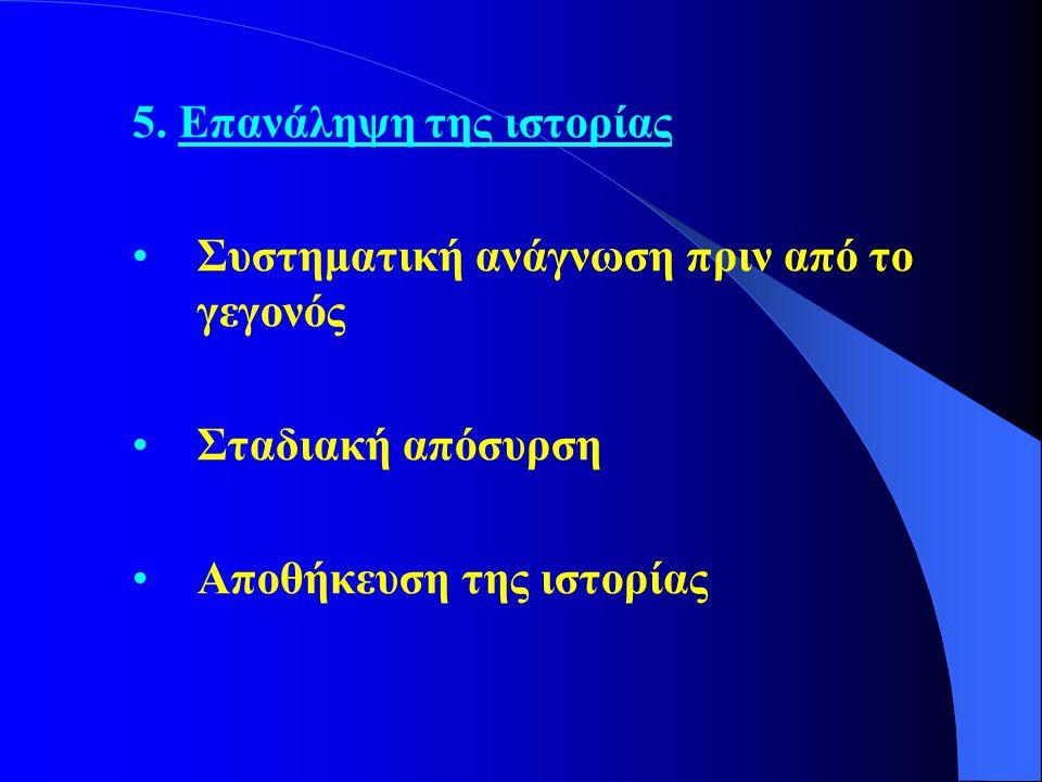 5. Επανάληψη της ιστορίας •Συστηματική ανάγνωση πριν από το γεγονός •Σταδιακή απόσυρση •Αποθήκευση της ιστορίας